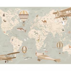 Фотообои Детская карта мира с самолетами
