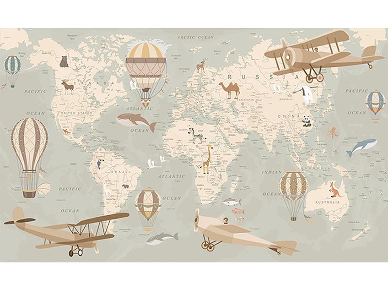 Детская карта мира с самолетами 2364
