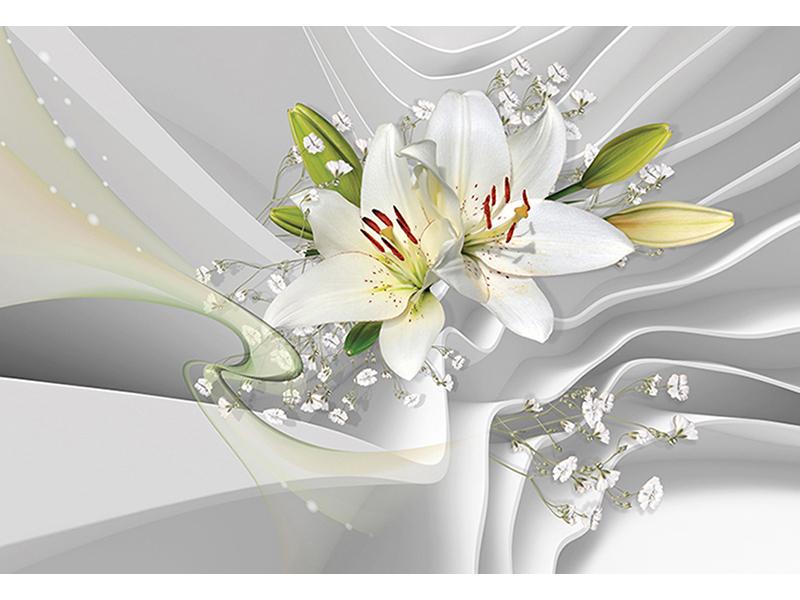 3д белые лилии 2161