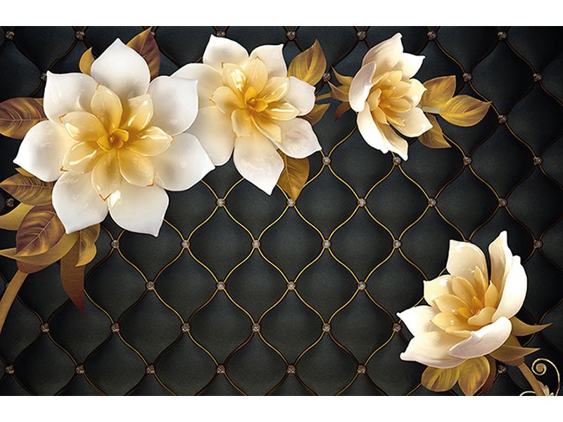 3д цветы на черном 2103