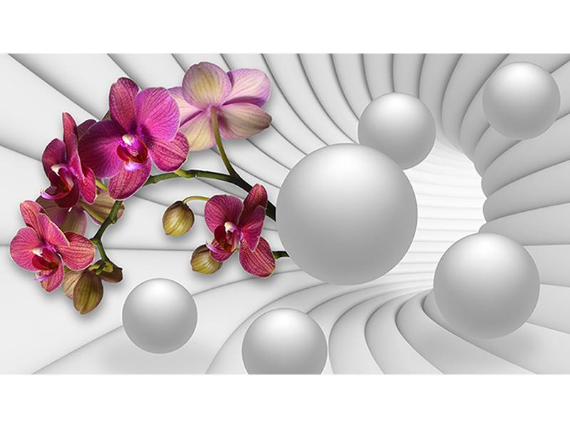 3д орхидея и шары 2130