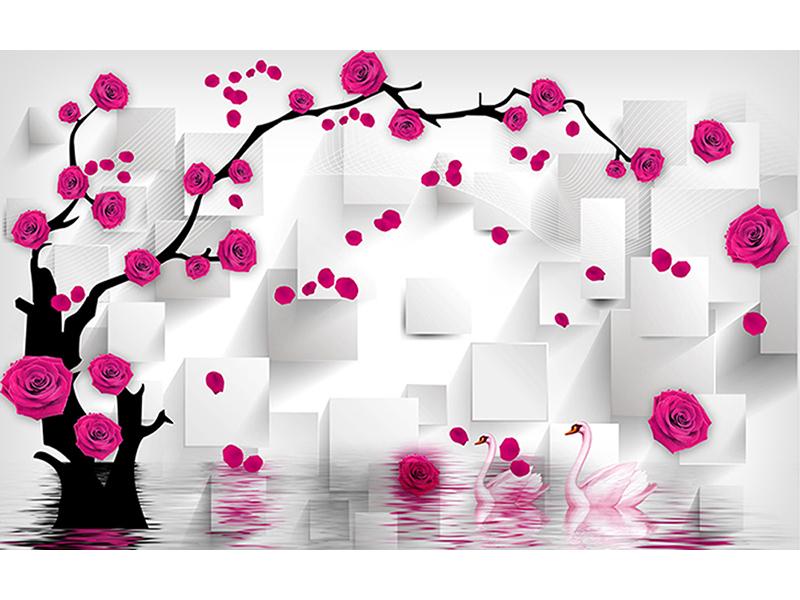 3д розы и лебеди 2122