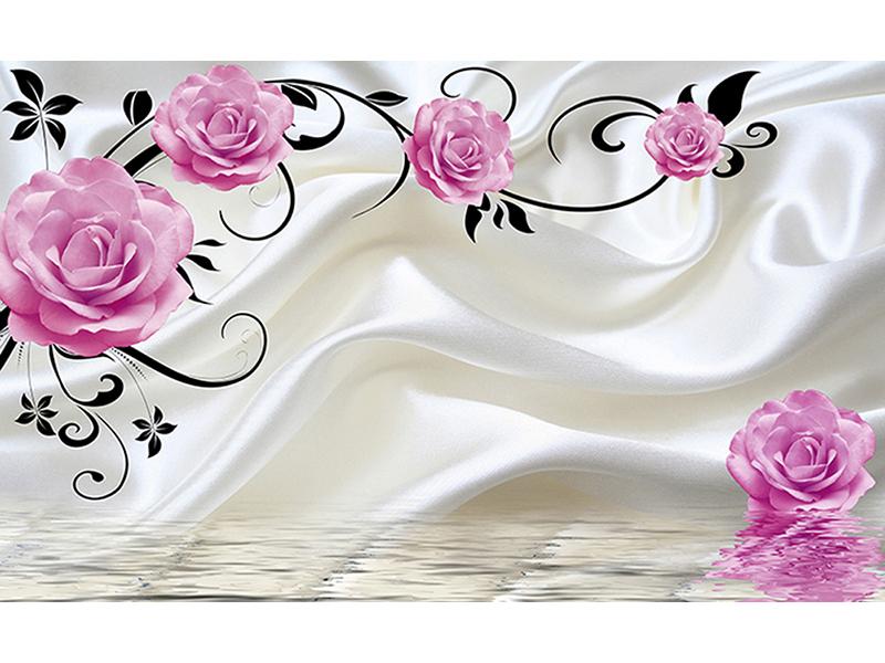 3д розы на шелке 2121