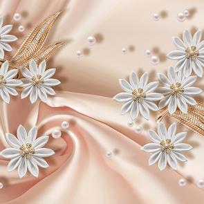 Белые цветы на шелке