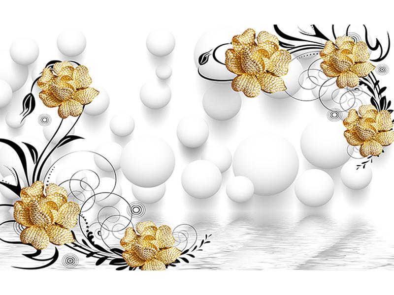 Золотистые цветы с шарами 1634