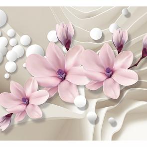 Розовые цветы на шелке