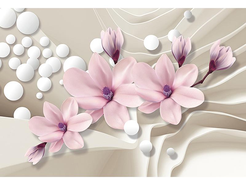 Розовые цветы на шелке 2086