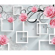 Фотообои розы на фоне квадратов