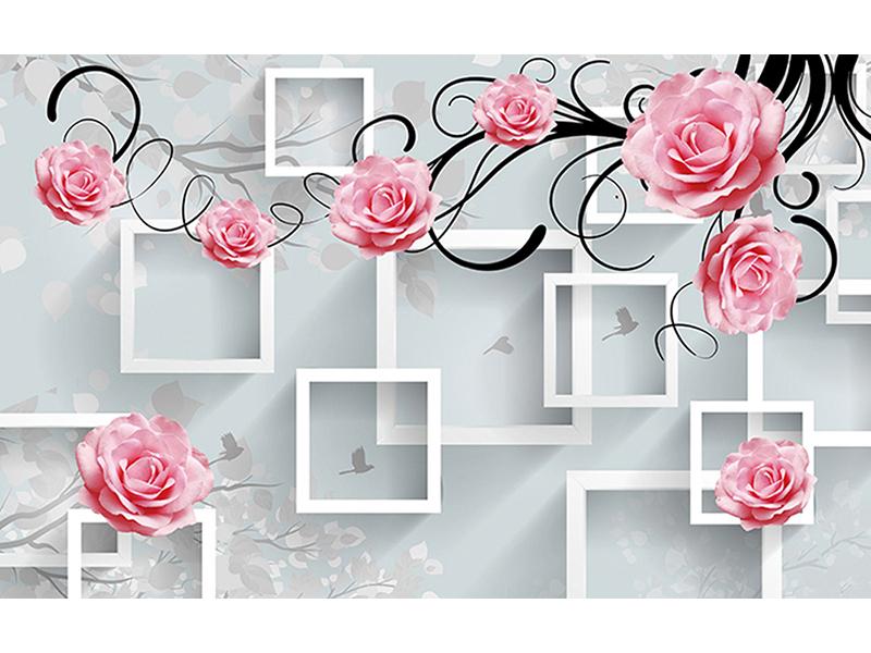Розы на фоне квадратов 2076
