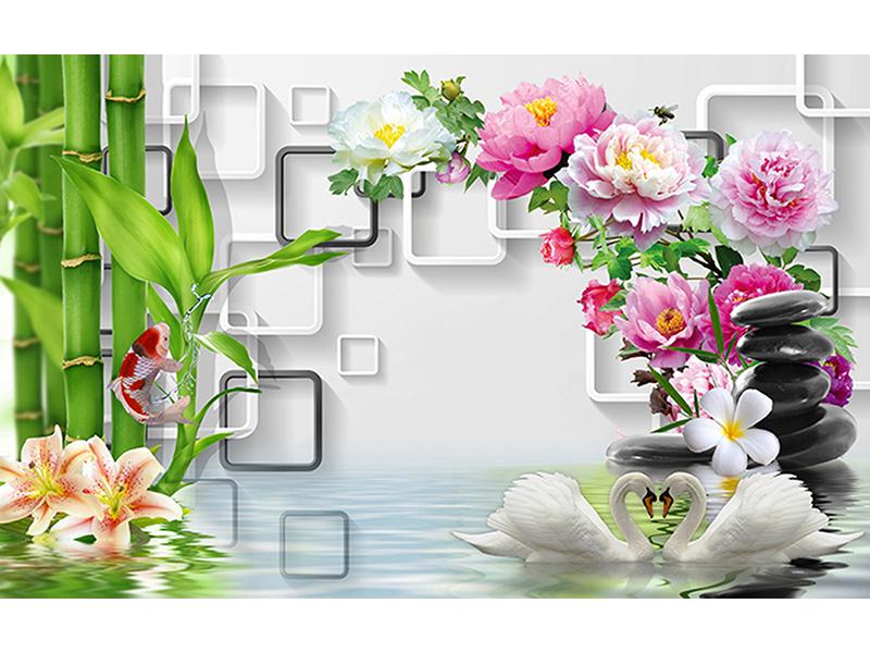 3д цветы над водой 2065