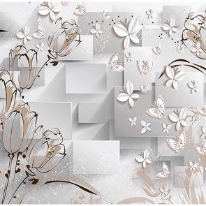 Цветы и бабочки в объеме