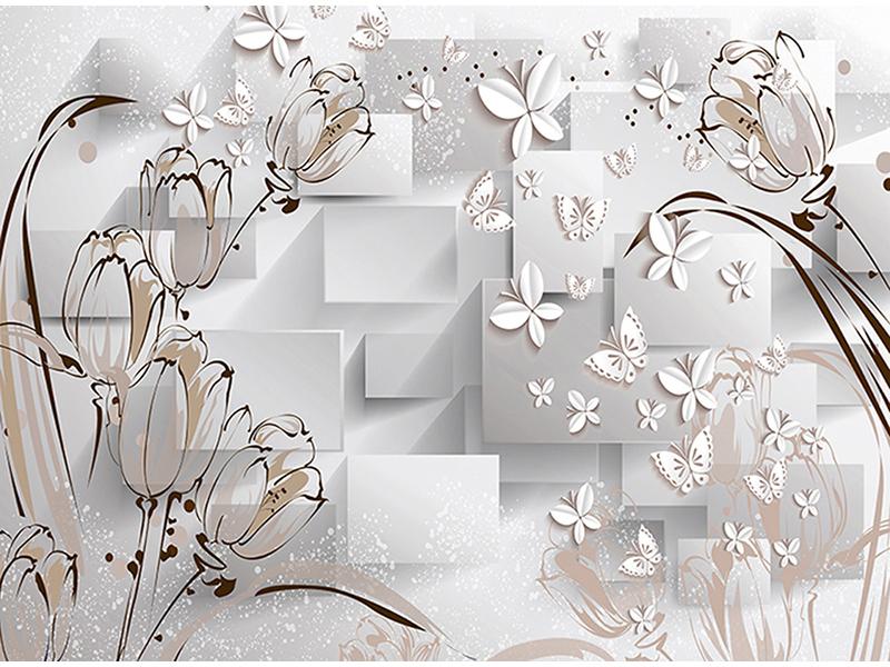 Цветы и бабочки в объеме 2062