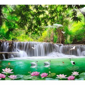 Водопад и кувшинки