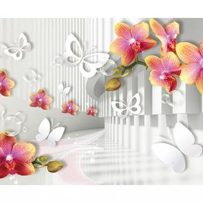 Белые бабочки с цветами
