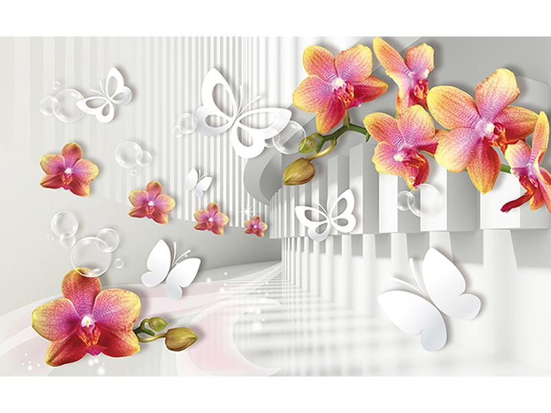 Белые бабочки с цветами 2056