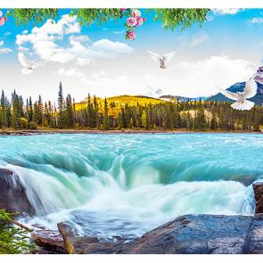 Горная река со ступенью