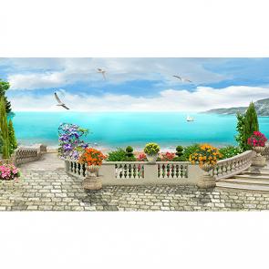 Вид на море с чайками 2