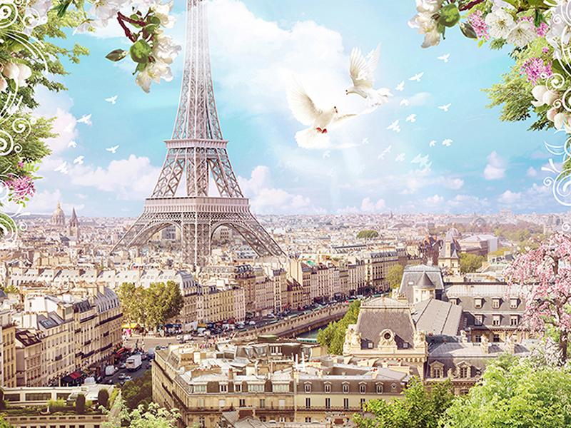 Вид на Париж в полдень 2042
