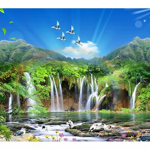 Водопад с птицами