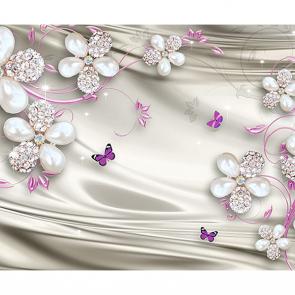 Цветы бриллианты и бабочки