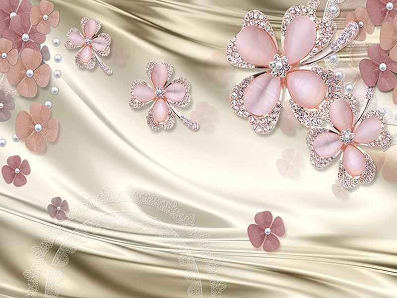 Розовые цветы 3д на шелке 2034
