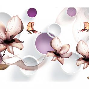 Воздушные цветы и бабочки