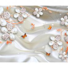 Белые цветы с оранжевыми бабочками