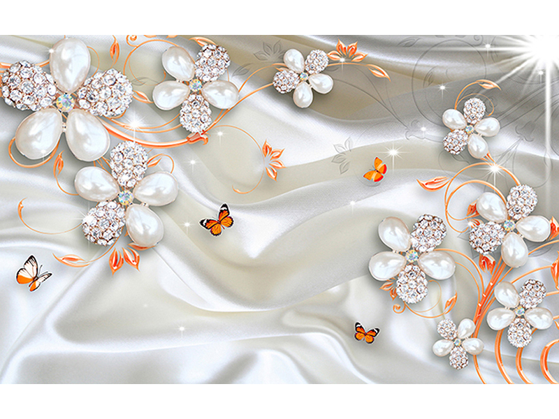 Белые цветы с оранжевыми бабочками 2021