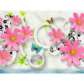Цветы с бабочками и кругами