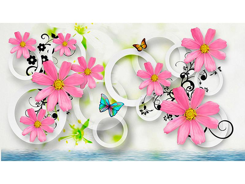 Цветы с бабочками и кругами 2015