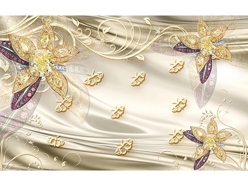 Узоры на шелке с цветами 2014