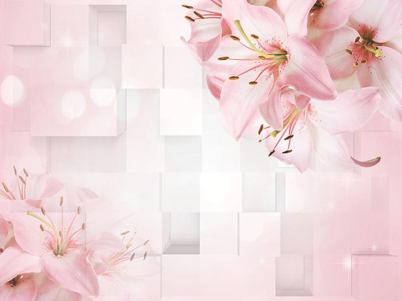 Розовые цветы в объеме 2012