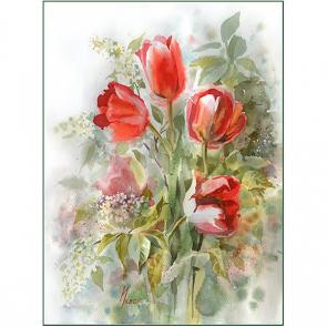 Красные акварельные цветы