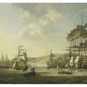 Корабли в гавани акварель