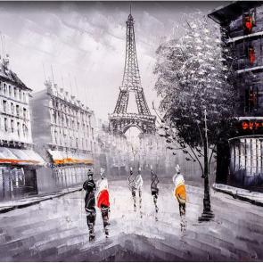 Париж черно-белый акварель