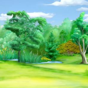 Акварельный лес