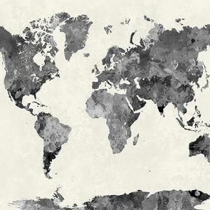 Карта мира акварельная серая