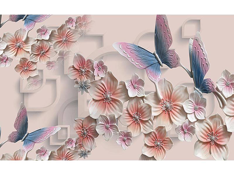 Бабочки и цветы 3д 1984