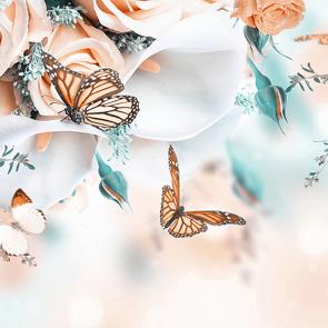 Бабочки с розами