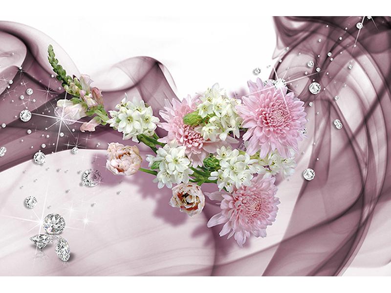 Цветы белые с розовым 1045