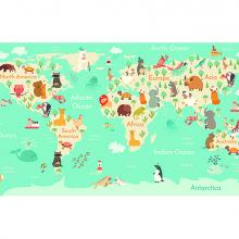 Детская карта мира в бирюзе