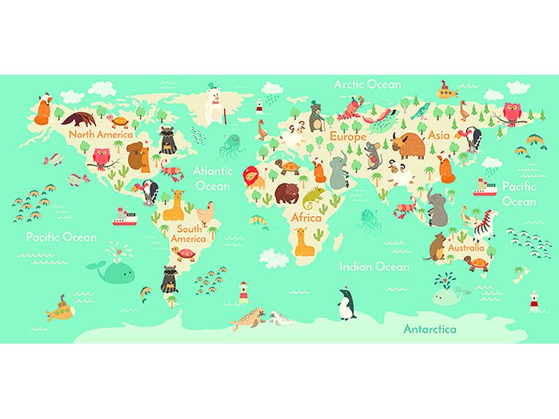 Детская карта мира в бирюзе 2302