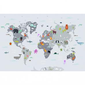 Детская карта мира серая