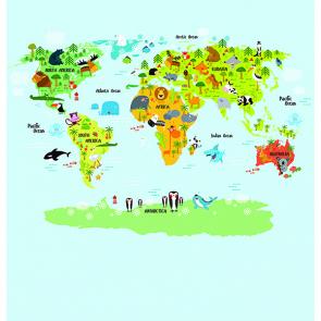 Детская карта мира со зверями