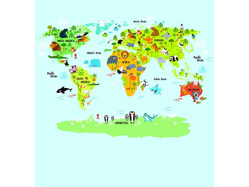 Детская карта мира со зверями 2305