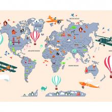 Детская карта мира бежевая