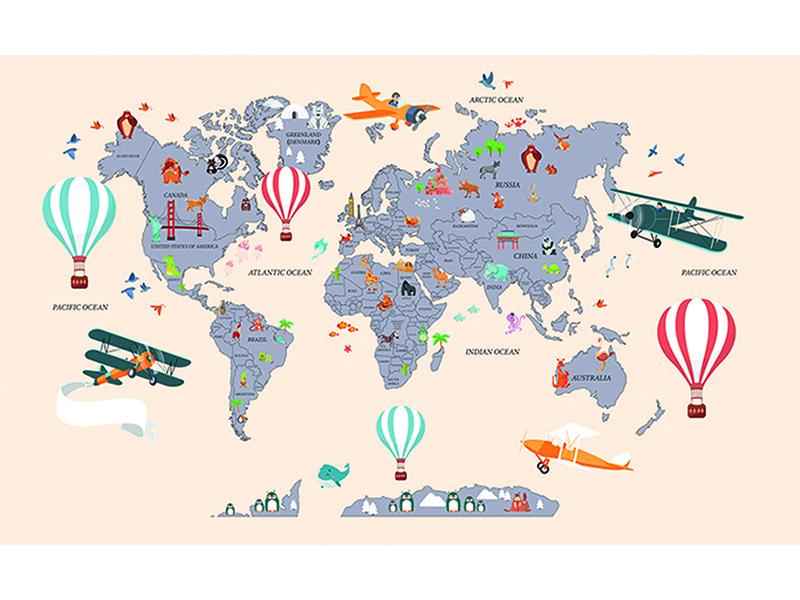 Детская карта мира бежевая 2306