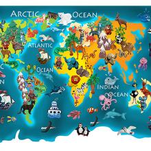Детская карта мира синяя
