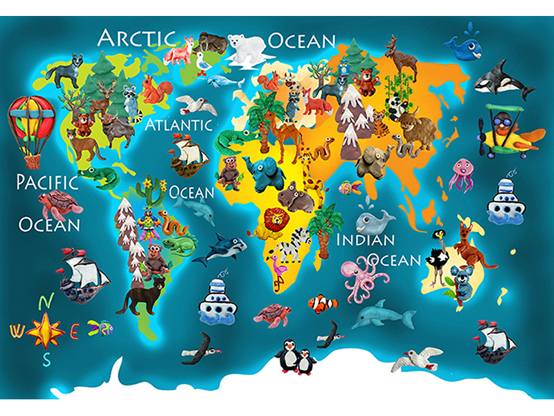 Детская карта мира синяя 2308