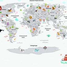 Детская карта мира со зверями белая